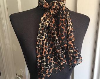 RESERVED....Vintage Leopard Print Scarf, Leopard Print Chiffon Scarf, Cheetah, Rockabilly, Black Brown and Tan Animal Print Silk Scarf