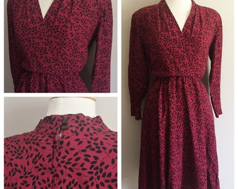 Burgundy Dress with Black Leaf Print // Red and Black Dress // Classic Modest Dress