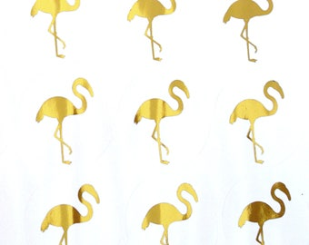 REAL GOLD FOIL - metallic gold foil flamingo stickers
