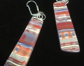 Watercolor Stripe Earrings . Lever Back . Polymer Clay