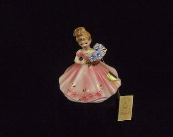 Vintage Josef Original Porcelain September Birthday Girl Lady Head Figurine With Original Tags and Paper Label Blue Rhinestone