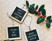 Christmas ornaments, handmade wooden letter board, unique gifts, decorations, letterboard, babys first Christmas, fun sayings