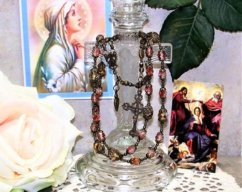 Catholic Chaplet of Holy Virtues of the Virgin Mary, Bronze Replica from the Special Edition Handcrafted Art Chaplets & Prayer Beads Series