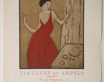 Van Cleef et Arples Advertisement from Gazette du BON TON 1920 Pochoir print