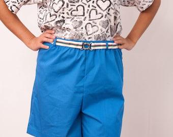 Vintage Blue Shorts with Rainbow Belt - Vtg Bright Blue Shorts w Elastic Waist - Removable Multi-Color Stretchy Belt - Take 1 - Size Medium