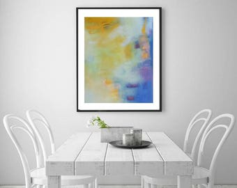 Mustard yellow and Blue abstract painting art print, horizontal or vertical art, soft pastels, interior trends 2018, art print, yellow art