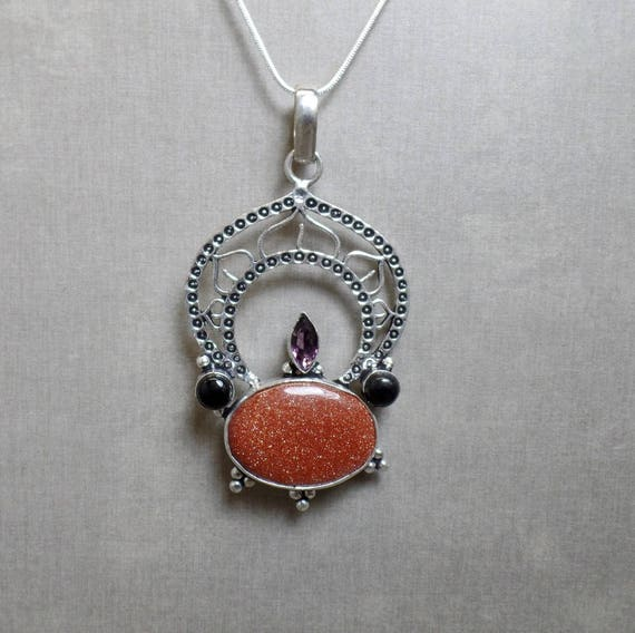Bohemian Goldstone Necklace - Gemstone Necklace - Lotus Gemstone Pendant - Sterling Silver