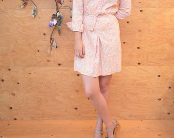 Vintage 70's Perfectly Peach Floral Denim Dress, Long Sleeves, Matching Belt
