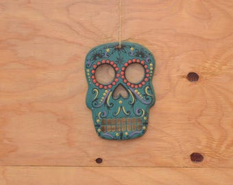 Large Wooden Teal & Gold Day Of The Dead Skull Wall Hanging Unique Floral Detail Much Like A Katrina Doll