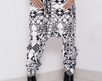 Low Crotch Pants - Baggy Pants - Harem Pants - Printed Sweat Pants - Black and White Print Pants - Mens Yoga Pants