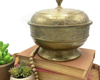 Vintage Brass Etched Lidded Bowl Keepsake Jewelry Box, Round Footed Bowl, Made in India