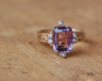 Victorian 14K amethyst seed pearl station dress ring ∙ Antique amethyst pearl ring