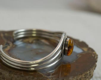 Vintage Sterling Silver Oval Bezel Set Amber Three Band L Sheka Signed Navajo Cuff Bracelet  .....6280