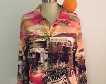 Vintage ROUTE 66 JACKET, Lightweight Jacket, Impulse California, Vintage Pink Jacket, Vintage Pink Jacket, Size Medium at Modern Logic