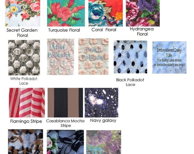 Coralie Beatrix Print Fabric Swatches- 4 way Stretch~ Solids, Laces- Stripe, Floral, Galaxy, .99 cents PER Color Sample- Free Shipping in US