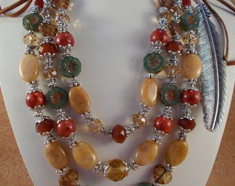 Western Cowgirl Necklace Set - Chunky Jade and Coral - Crystal and Czech Glass Beads