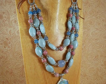 Western Cowgirl Necklace Set - Chunky Amazonite and Rhodonite -  Tile Shard Pendant