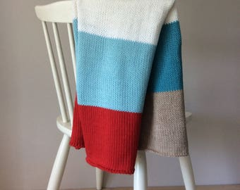 red aqua knitted baby blanket, striped baby blanket girls alpaca baby blanket wool baby blanket baby shower gift warm and woolly on etsy