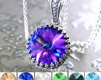Iris Purple Necklace Sterling Silver Purple Pendant Necklace Swarovski Crystal Jewelry Plum Violet Dark Purple Crystal Necklace