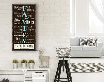 Family Rules Sign - Personalized Family Rules Sign - Wood  Sign - House Rules - Words to Live By | Custom FAMILY RULES Sign | Rustic Sign