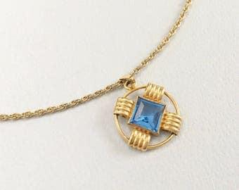 Art Deco Jewelry, Vintage Jewelry, Art Deco Necklace, Simmons Necklace, Blue Pendant, Czech Glass Vintage Necklace, Simmons Jewelry, Gold