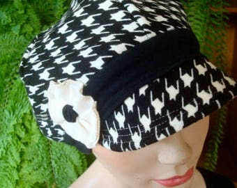 womens hats newsboy winter knit houndstooth hat chemo hats soft hat cosy hat slouchy black white