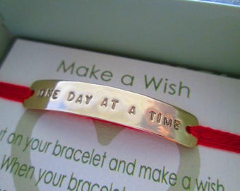 Motivational One Day At A Time Bracelet Personalized Message Bracelets Power Words Inspirational Gift Positive Affirmations Jewelry Love