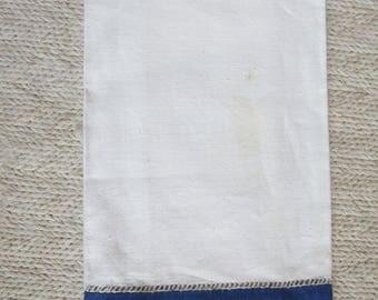 Vintage White Navy Linen Tea Towel Faggoted Drawnwork Detail Navy Blue  Linen Borders White Navy Linen