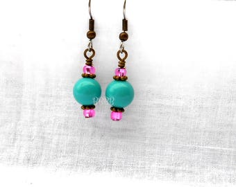 Teal and Pink Dangle Earrings Antiqued Bronze Accents Steel Earwires
