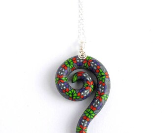 Intricate Millefiori Spiral Pendant on Sterling Silver, Fimo Polymer Clay Design by Supremily Jewellery