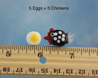 5 Chicken and 5 egg lampwork glass beads- black & white hen, fried egg chicken egg - farmyard fun - DIY jewelry and crafts