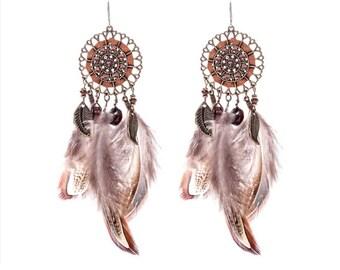 Boho feather dreamcatcher earrings - surgical steel earrings, stainless steel, nickel free, hypoallergenic