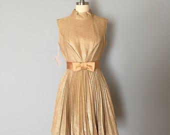 1960s satin bow mini dress / golden party dress / accordion pleated mod dress