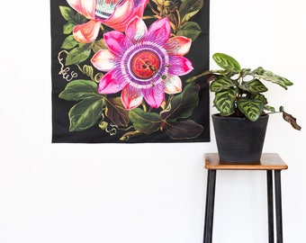 Botanical Print Fabric wall art/ PASSIONFRUIT flower wall hanging/ Floral wall decor/ Vintage wall art/ giant floral poster/ flower print