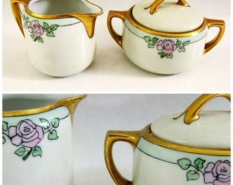 Antique M Z Art Nouveau Austrian Sugar Bowl Creamer Set / 1890s 1900s Babcock Hand Painted Roses and Gold Ceramic Dishes