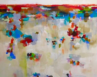 Abstract Colorful Landscape Painting Original Art -Red Accent Horizon 40 x 60