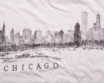Chicago Skyline T-Shirt, Windy City, Cityscape Graphic Tee, Vintage 90s, Sears Tower, Illustration, Museum Souvenir