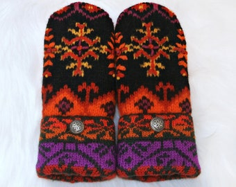Colorful Norwegian Mittens ~ Orange, Black & Purple 100% Wool Women's Recycled Sweater Mittens