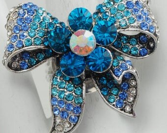 Blue Ribbon Bow Ring/Statement Ring/Turquoise/Rhinestone/Gift For Her/Cocktail Ring/Wedding Jewelry/Gift For Her/Adjustable/Under 20 USD