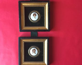 Ceramic Painted Diptych | Salem Collection hand painted portrait bust velvet background carved wooden frame goth art wall hanging ribbon