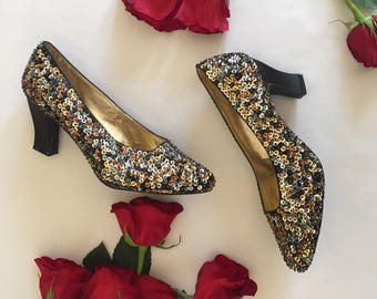 Sequin Pumps | 7 vintage pointed tor 80s dance cocktail formal fun party DEADSTOCK block heels womens STEFANI shoes