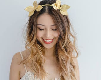 Gold metallic Leather fascinator headband // gold leather flower / gold leaf crown / gold leather headpiece / spring racing fascinator