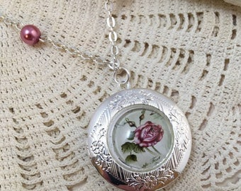 Round silver locket with Pink Vintage Rose Cameo Necklace, Pink Vintage Rose Locket, Locket, Rose Locket, Pink, Jewelry, For Mom, For Her