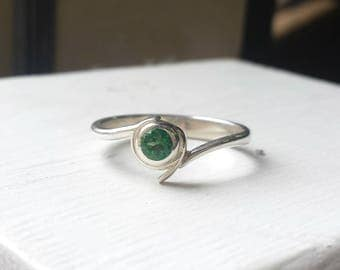 Kokiri Emerald Engagement Ring, in Sterling Silver - Geeky Ring, Legend of Zelda, Forest Temple, Ocarina of Time, Nintendo, Gaming