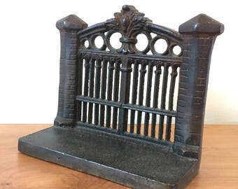 Victorian Gothic Cast Iron Gate Bookends, 1910-1930