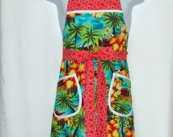 Hawaiian Red Apron, Polynesian, Flirty Fun, Maui, Tropical, Floral,  Custom Personalize With Name, No Shipping Fee, Ships Today, AGFT 1106