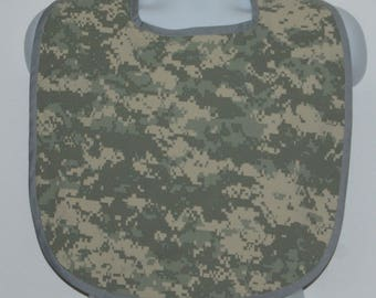 Digital Camo Adult Bib, Upcycled Fatigue, Camouflage Clothing Protector, Funny Gag Gift, No Shipping Charges, Ready To Ship TODAY, AGFT 1196