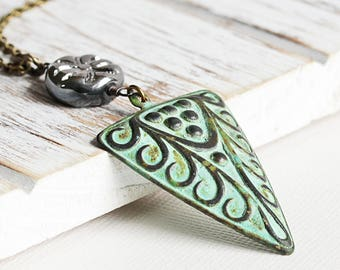Long Boho Necklace, Large Triangle Drop Necklace on Antiqued Brass Chain, Green Patina Jewelry
