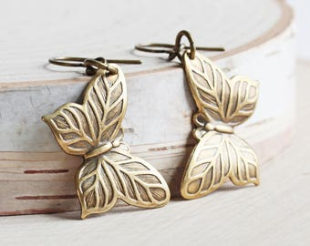 Simple Antiqued Brass Butterfly Dangle Earrings