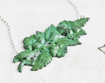 Green Patina Wild Rose Flower Pendant Necklace on Silver Plated Chain (Hand Patina)